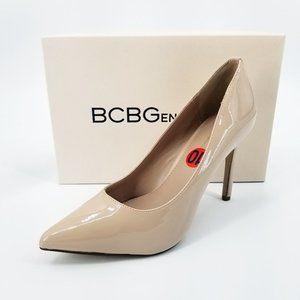 BCBG Generation Heidi Smooth Patent Pump in Shell